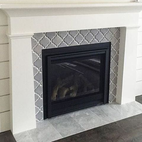 Arabesque Fireplaces Surround Tile Fireplace Livingroom Mantle Grey Marble