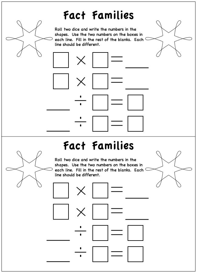 Fact Families Worksheet  Multiplication And Division  Division  Fact Families Worksheet  Multiplication And Division  Division   Pinterest  Maths Homeschool Math And Multiplication