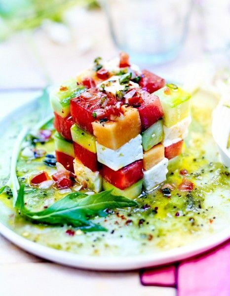 Rubik's cube pastèque melon avocat - 25 salades sucrées-salées à savourer tout l'été - Elle à Table