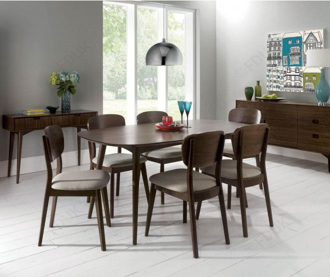 Bentley Designs Oslo Walnut 6 Seater Dining Table With Veneered Back Chairs Home