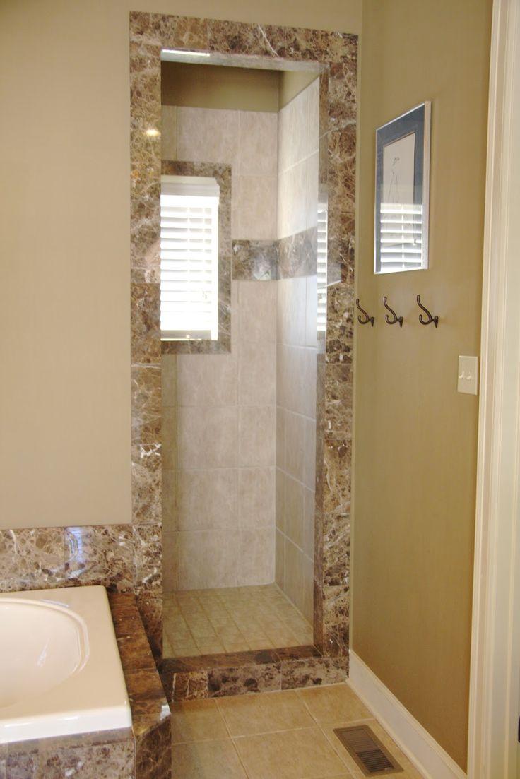 76 best bathrooms to build images on pinterest - Doorless shower in small bathroom ...