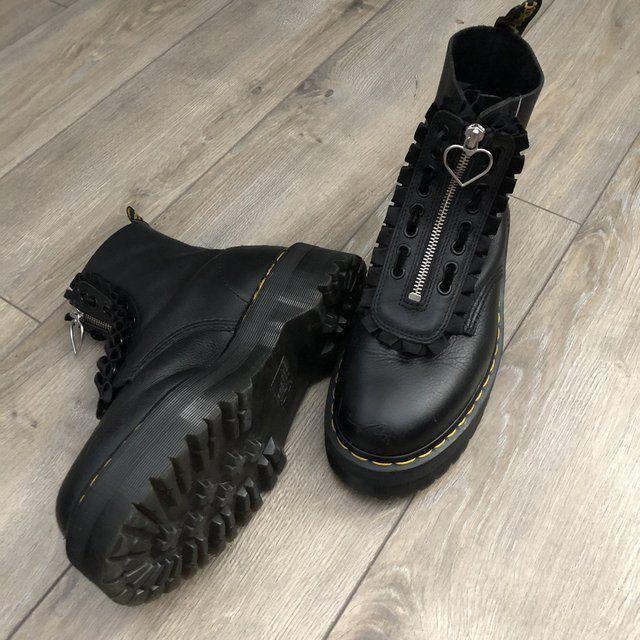 Dr Martens x Lazy Oaf pink suede heart buckle boots. Depop