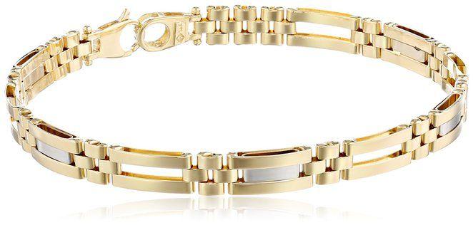 #Bracelets #MensFashion Men's 14k Yellow and White Gold Fancy Bracelet