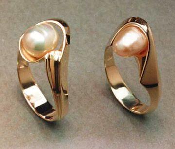 Baroque Pearl Rings in 14k