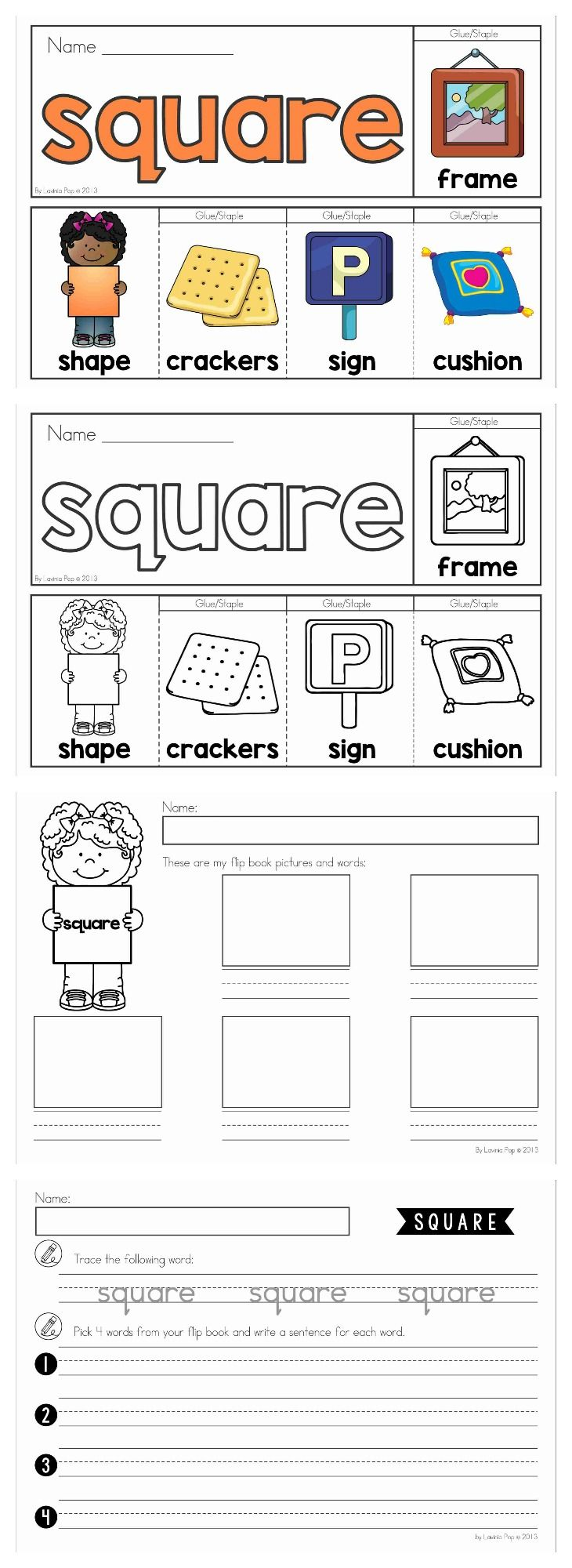 Shapes flip books (color and black and white) with 2 differentiated worksheets. Get the square pages FREE when you download the preview.