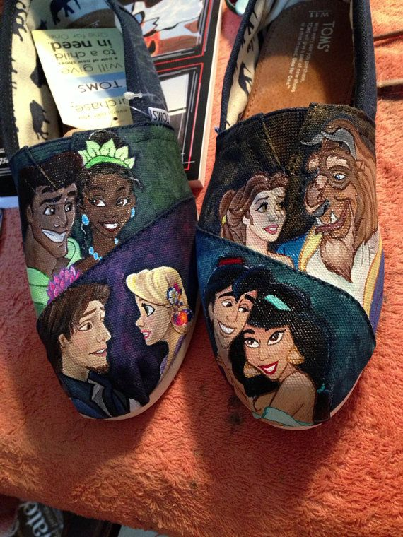 Disney princes and princesses, Custom, Hand painted Toms. on Etsy, $150.00