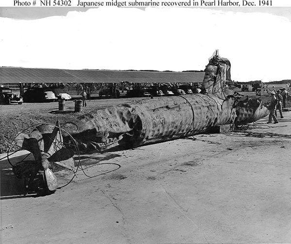 Imperial Japanese midget submarine recovered in Pearl Harbor Dec 1941