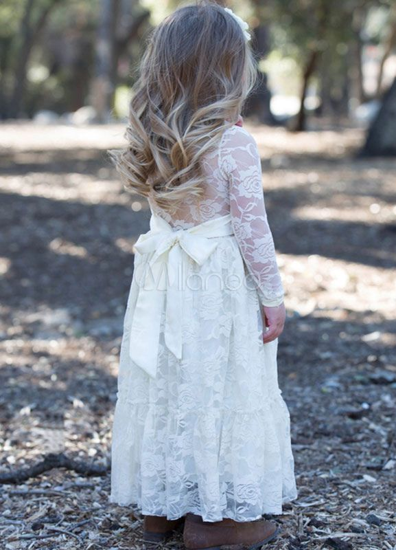 6ad6d930d Boho Flower Girl Dress Lace Ivory Long Sleeve Pleated A Line Pageant Dress  With Bowed Sash
