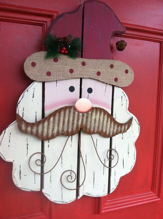 Shabby Chic Wooden Santa Decor, Rustic Santa, Christmas Decor, Holiday Wreath on Etsy, $44.00