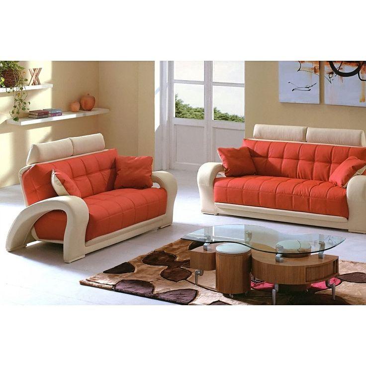 Best 1546 2 Pcs Living Room Set Sofa And Loveseat In Orange 400 x 300