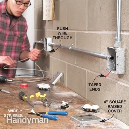 How to Install Surface-Mounted Wiring and Conduit | Wee Spaces ... Wiring Through Outside Wall on wood wall, siding wall, windows wall, insulation wall, fan wall, tools wall, roof wall, wire wall, upholstery wall, cable wall, body wall, drywall wall, security wall, conduit wall, flooring wall, plumbing wall, carpet wall, computer wall, construction wall, building wall,