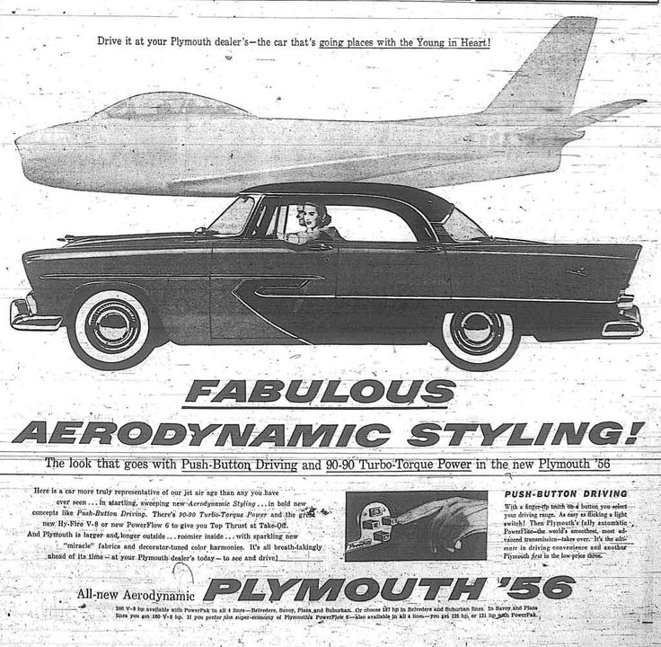 vintage detroit newspaper ads | Fabulous Aerodynamic Styling – Plymouth 1956 » Photos from the ...