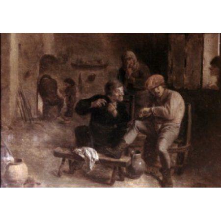 In the Tavern by Adriaen Brouwer oil on panel c 1630s 1605-1668 Russia St Petersburg The Hermitage Canvas Art - Adriaen Brouwer (18 x 24)