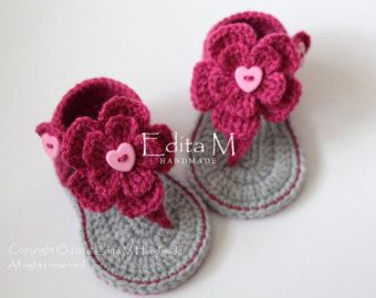 Crochet baby sandals gladiator sandals slippers by EditaMHANDMADE