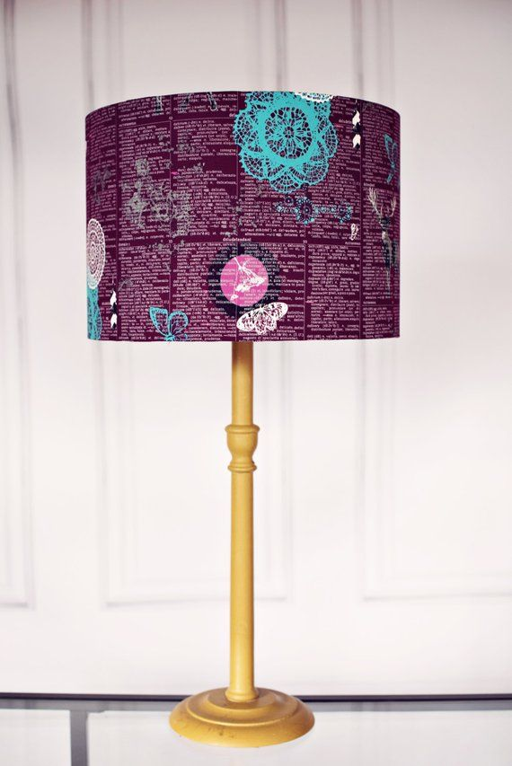 Purple Lamp Shade This Lampshade Features A Magical Art Gallery Fabric Designed By Katarina Roccella The Plum Has White Writing On It And