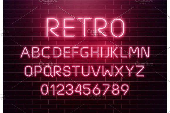 Light Neon Font Letter Set Lettering Fonts Letter Set Sign Fonts