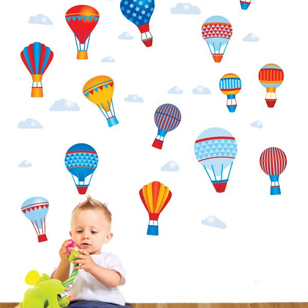 Hot Air Balloons Multicoloured Wall Stickers - $55.76