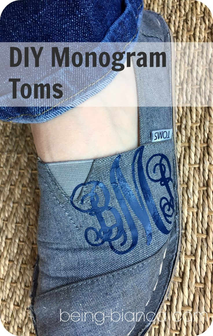 DIY Monogrammed Slip on Shoes - works great for Tom's shoes.  Easy and inexpensive way to prep your slip on shoes!