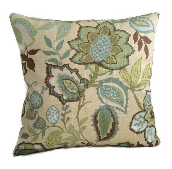 Jacobean Pillow Floral Pillow Teal Blue Aqua by MarolizanaDesigns