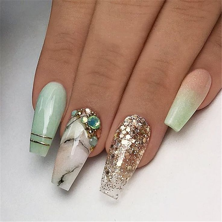Winter Acrylic Green and Blue Glitter Coffin Nails From Nature – uñas