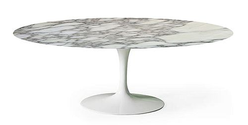 TavoloTulip da pranzo ovale o rotondo con piano in marmo Arabescato VagliTavoloE. Saarinen BAUHAUS RE EDITION