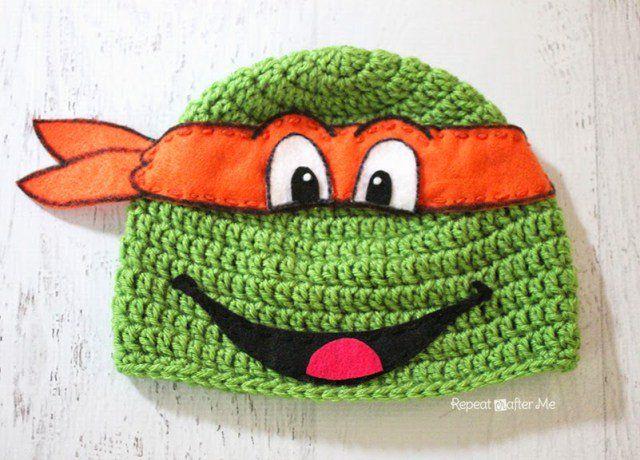 crochet ninja turtle hat FREE pattern