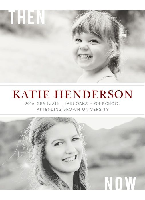 Then and Now Graduation Announcements by BasicInvite.com