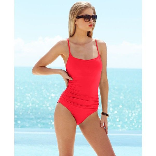 Anne Cole Classic Ruched One-Piece Swimsuit ($78) ❤ liked on Polyvore featuring swimwear, one-piece swimsuits, watermelon, ruching swimsuit, shirred swimsuit, ruched swimwear, 1 piece bathing suits and anne cole swimwear