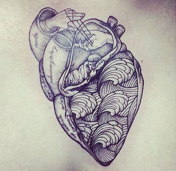 anatomical heart, tattoo artist unknown