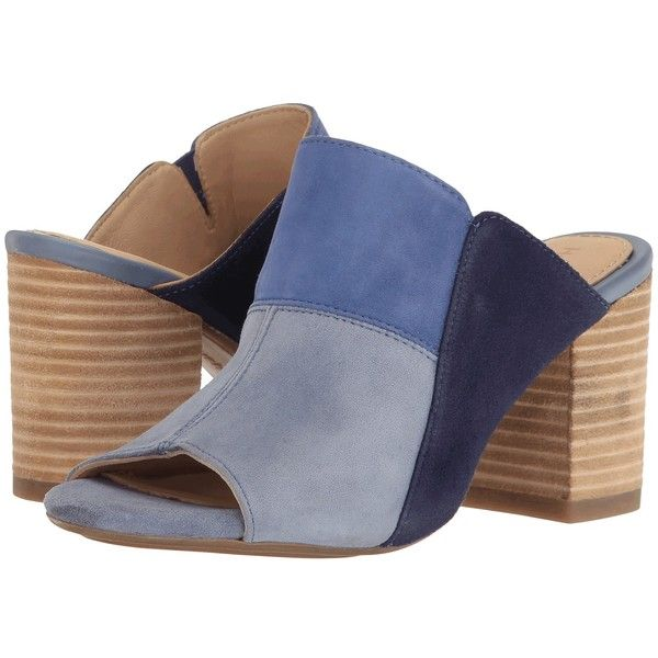 Hush Puppies Sayer Malia (Powder Blue/Multi Suede) Women's Wedge Shoes ($89) ❤ liked on Polyvore featuring shoes, suede shoes, wedge shoes, summer wedge shoes, high heel mule shoes and hush puppies shoes