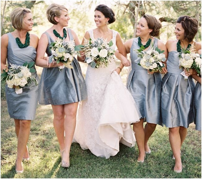 bridesmaids in silver and emerald by brushfire photography