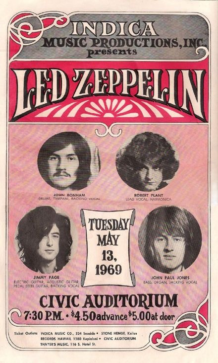 Poster for Led Zeppelin's gig on Tuesday May 13th, 1969 at the Civic Auditorium in Hawaii  John Bonham, Robert Plant, John Paul Jones and Jimmy Page,