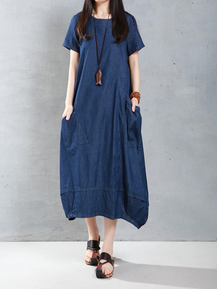 Casual Women Loose Short Sleeve Pockets Denim Lantern Dress - NewChic