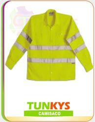 Camisaco Drill Nuevo Mundo: (100% Algodon) Casacas Himpermeables corta vientos para mineria.  Cinta Reflectivas certificadas.  Camisaco Codigo : CM - 004