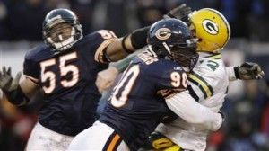 Chicago Bears defensive end Julius Peppers was fined $10,000 by the NFL for a helmet-to-helmet hit on Green Bay Packers quarterback Aaron Rodgers in NFC Championship game