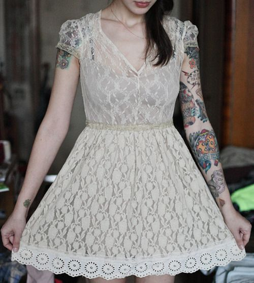loveLittle Dresses, Female Tattoo, Tattoo Sleeve, Style, Shorts Wedding Dresses, White Lace, The Dresses, Tattoo Ink, Lace Dresses