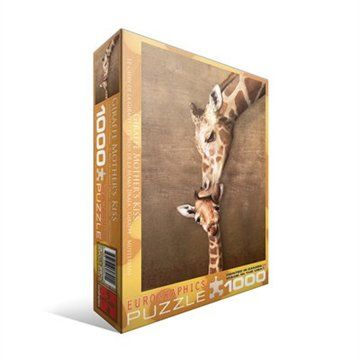 """Giraffes ; """"Mother's Kiss"""" Adorable picture, challenging puzzle <3"""