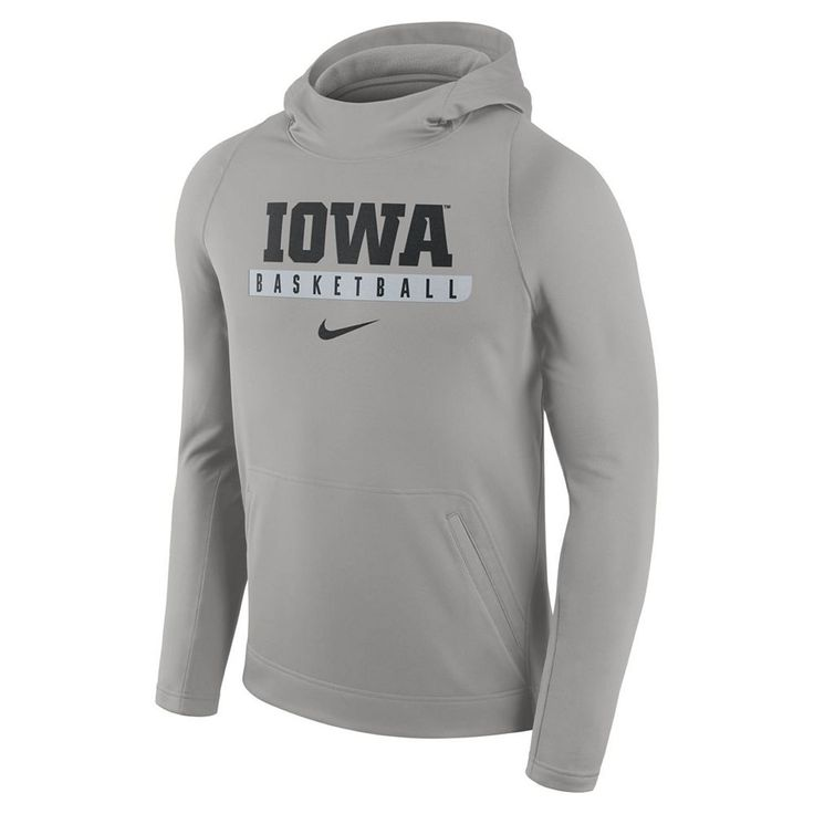Men's Nike Iowa Hawkeyes Basketball Fleece Hoodie, Size: Large, Grey Other