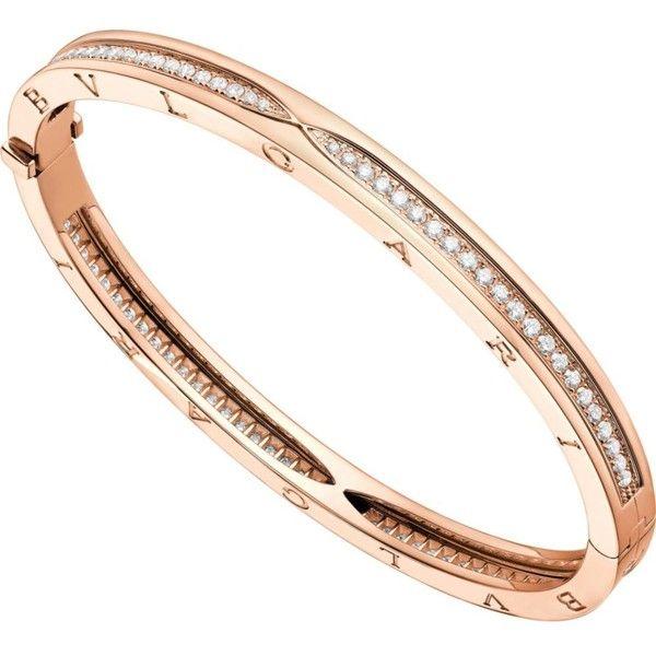 BVLGARI B.zero1 18kt pink-gold and pavé diamond bangle bracelet ($12,935) ❤ liked on Polyvore featuring jewelry, bracelets, pave diamond bangle bracelet, bracelets bangle, bulgari jewelry, rose gold bangle bracelet and rose gold bangle