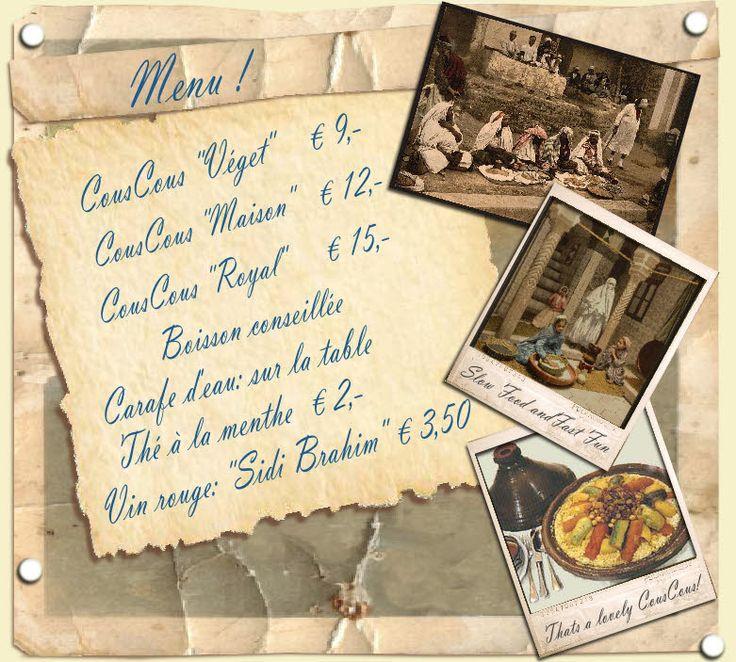 Couscous club - heerlijke couscous met gestoomde groenten en als je geluk hebt is er warme tarte tatin