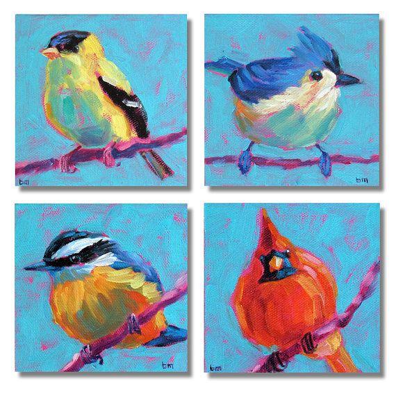 Bird Art Grouping Original Paintings by betsymclellanstudio, $55.00