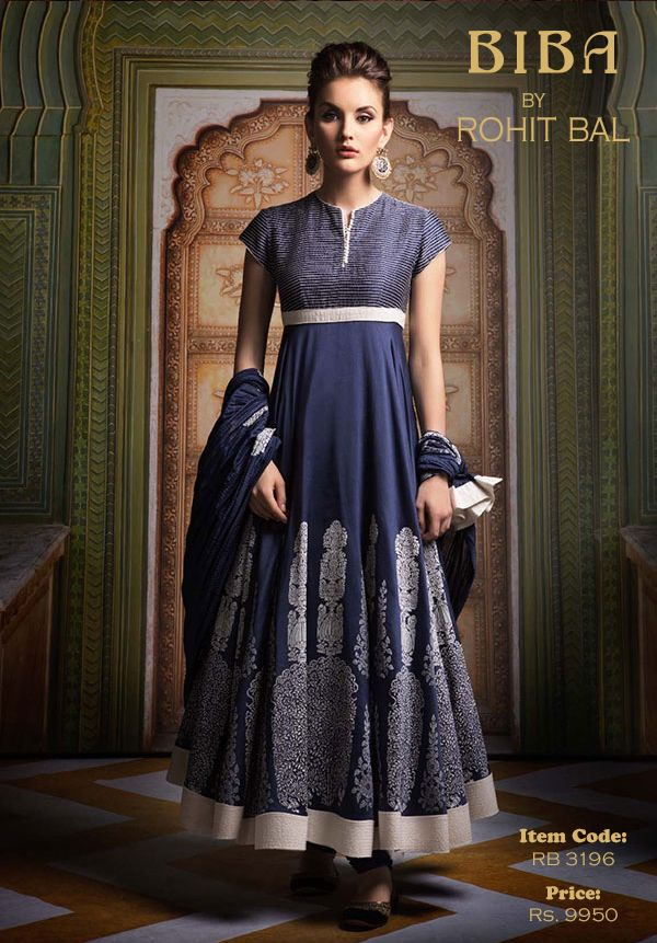 Indigo Chanderi Anarkali with Ivory block print and muslin detailing.