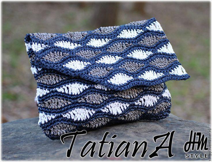 Купить Вязаный клатч ручной работы - комбинированный, вязаный клатч, клатч, вязаная сумочка