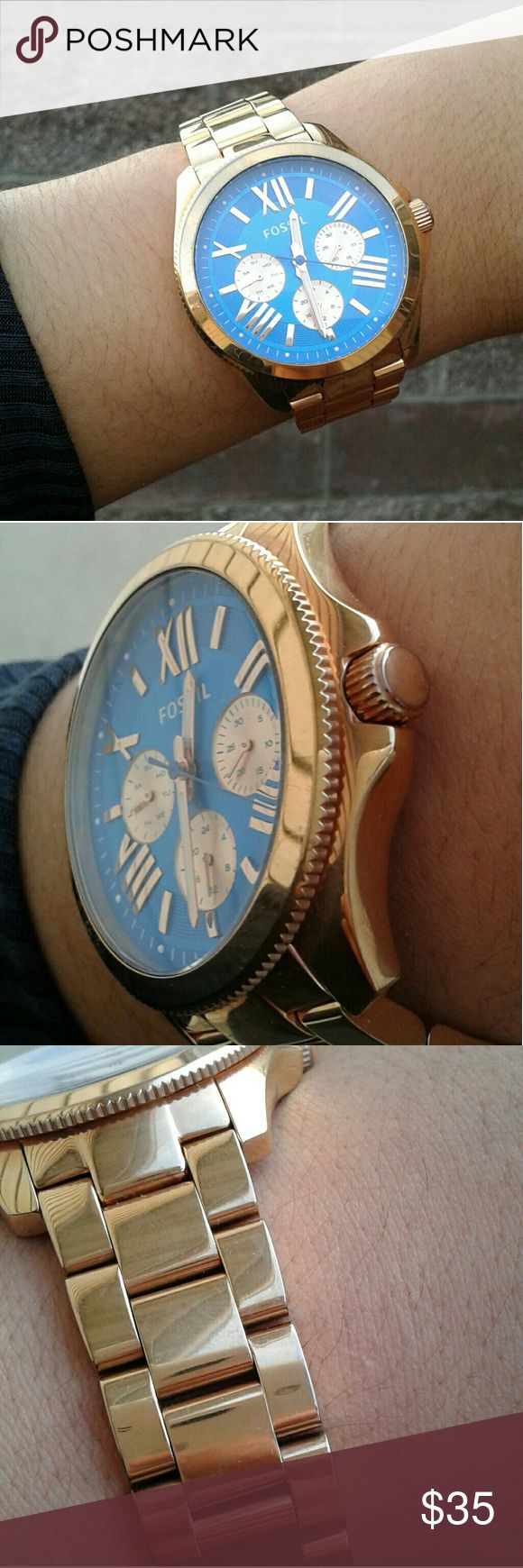 """FOSSIL watch! ❤ selling AS IS! Gold watch with beautiful blue face. This watch will need a battery, it was ticking great before it needed one. There is wear on the closing latch (see last pic) I am selling this watch in as is condition. Please do not ask any """"have you tried..."""" questions because the answer will be no. I am leaving repairs and condition improvements to the discretion of the buyer. This is reflected in the list price. I am still open to offers and other questions :) Fossil…"""