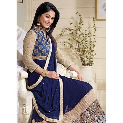 Buy Louis Vogue Blue Georgette Semi Stitched Suit by LOUIS  VOGUE, on Paytm, Price: Rs.1449?utm_medium=pintrest