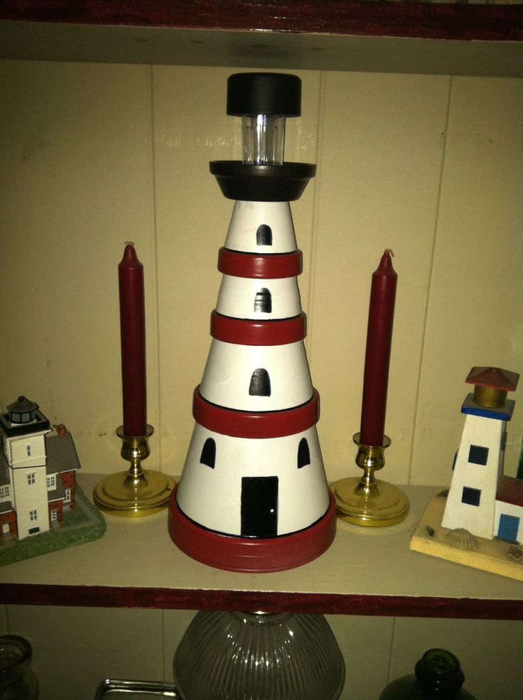 30 Best Images About Clay Pot Light Houses On Pinterest
