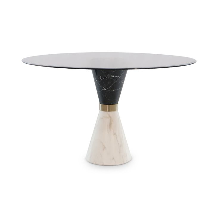 Vinicius Dining Table is a perfect example of duality. The white marble contrasts perfectly with the black marble. Named after a great Brazilian musician, this is the perfect dining table to have in your hotel bar or lounge.