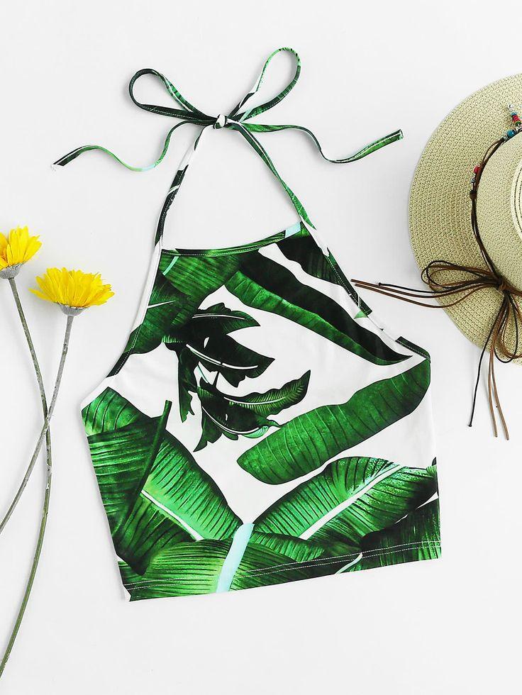 Shop Jungle Leaf Print Self Tie Halter Top online. SheIn offers Jungle Leaf Print Self Tie Halter Top