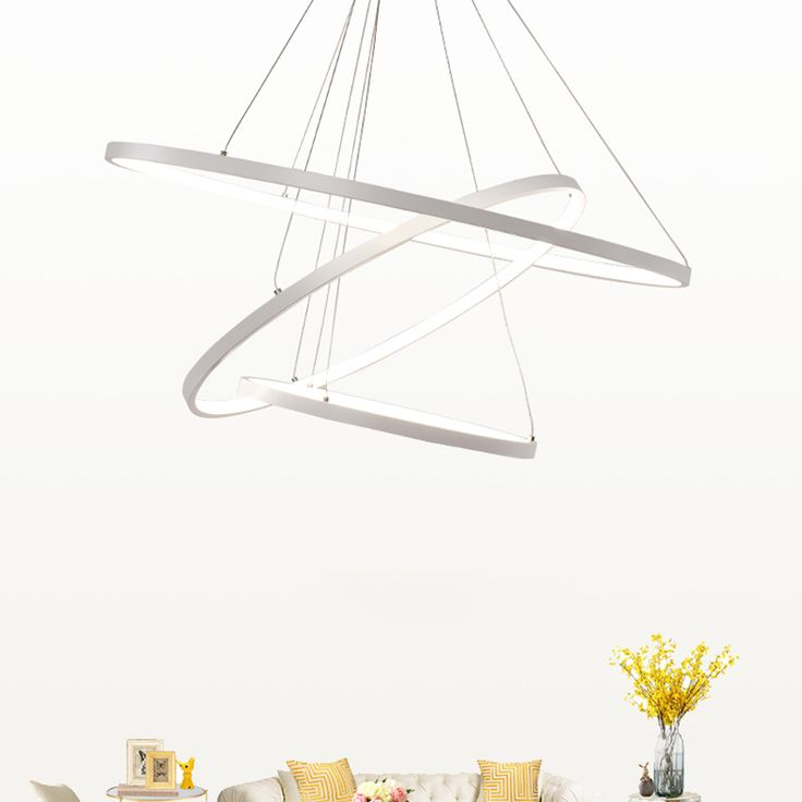 Circle Rings Modern Pendant Lights For Living Room Dining Kitchen Acrylic Body Hanging