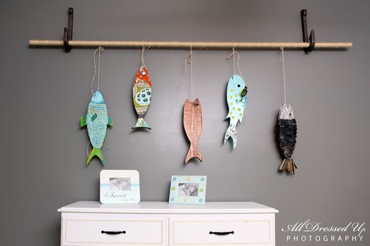 Love these wall hooks, swap dowel for old fashioned fishing rod, mad swap fish for photos or child's art. JJ